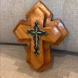 "10.5"" Handmade Wood Double Cross Black Turquoise"